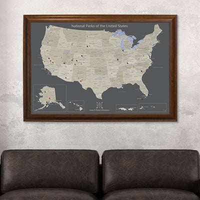 Earth Toned National Parks of the USA Wall Map Brown Frame