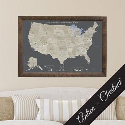 Canvas Earth Toned National Parks of the USA Antica Chestnut Frame