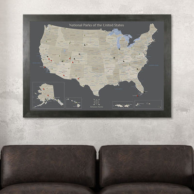Earth Toned National Parks of the USA Wall Map Rustic Black Frame