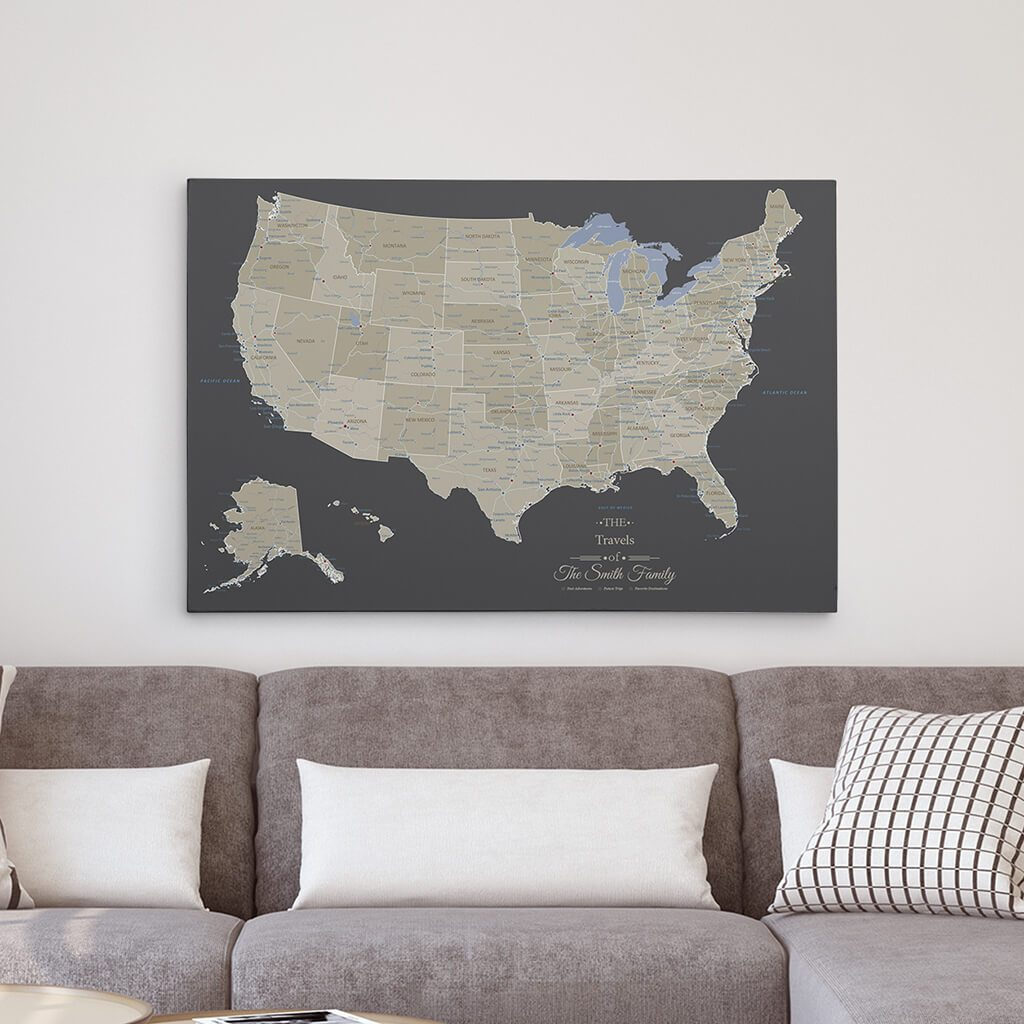24x36 Gallery Wrapped Earth Toned USA Map
