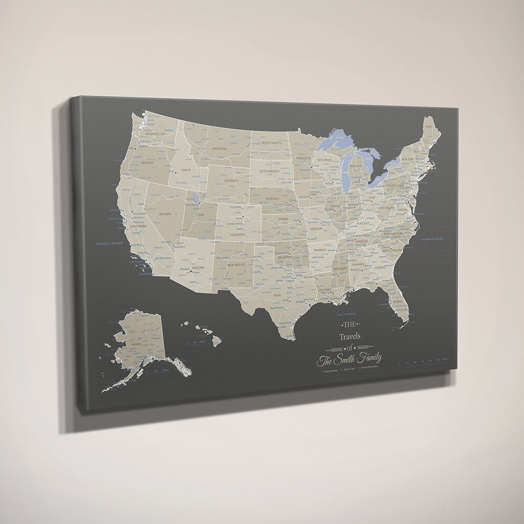 Earth Toned Us Map With Pins Gallery Canvas Print Us Travel Map