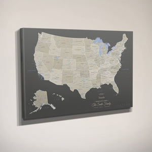 Gallery Wrapped - Earth Toned USA Travel Map with pins