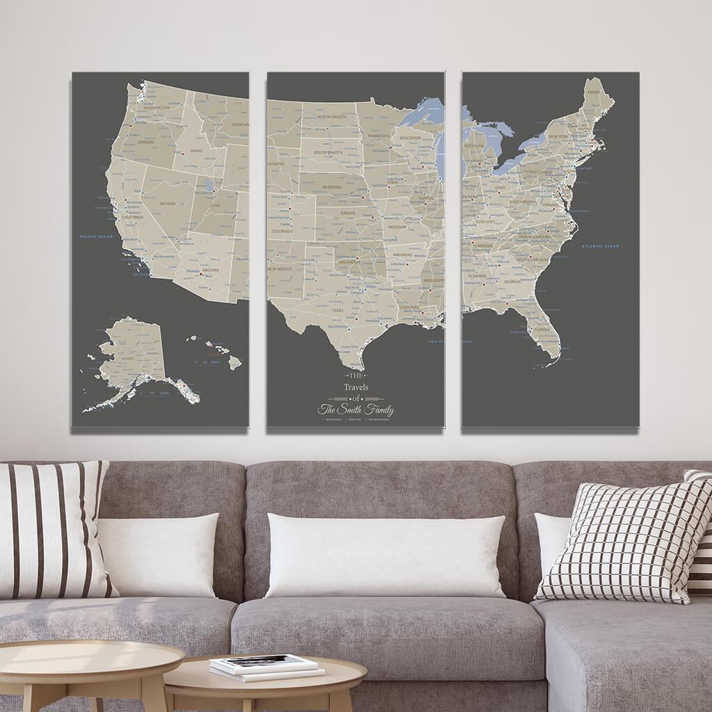Earth Toned USA 3 Panel Gallery Wrap Canvas Map Extra Large