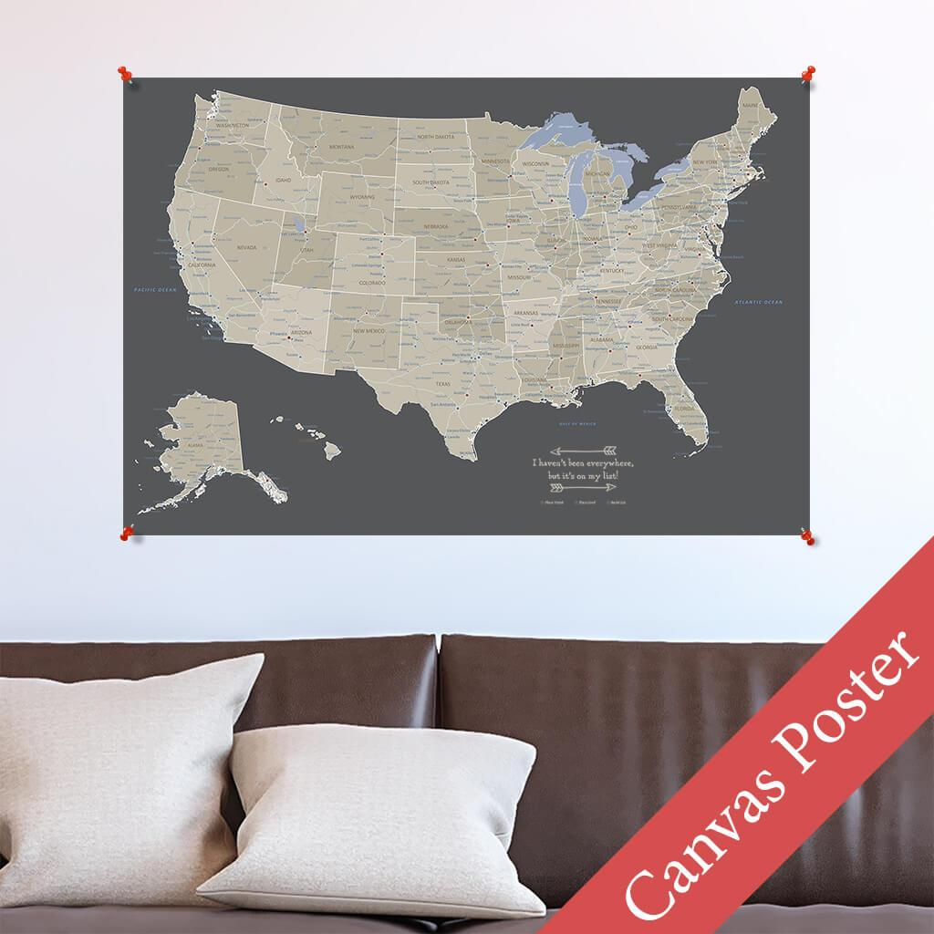 Earth Toned USA Canvas Poster