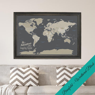 Canvas - Earth Toned World Travel Map with pins