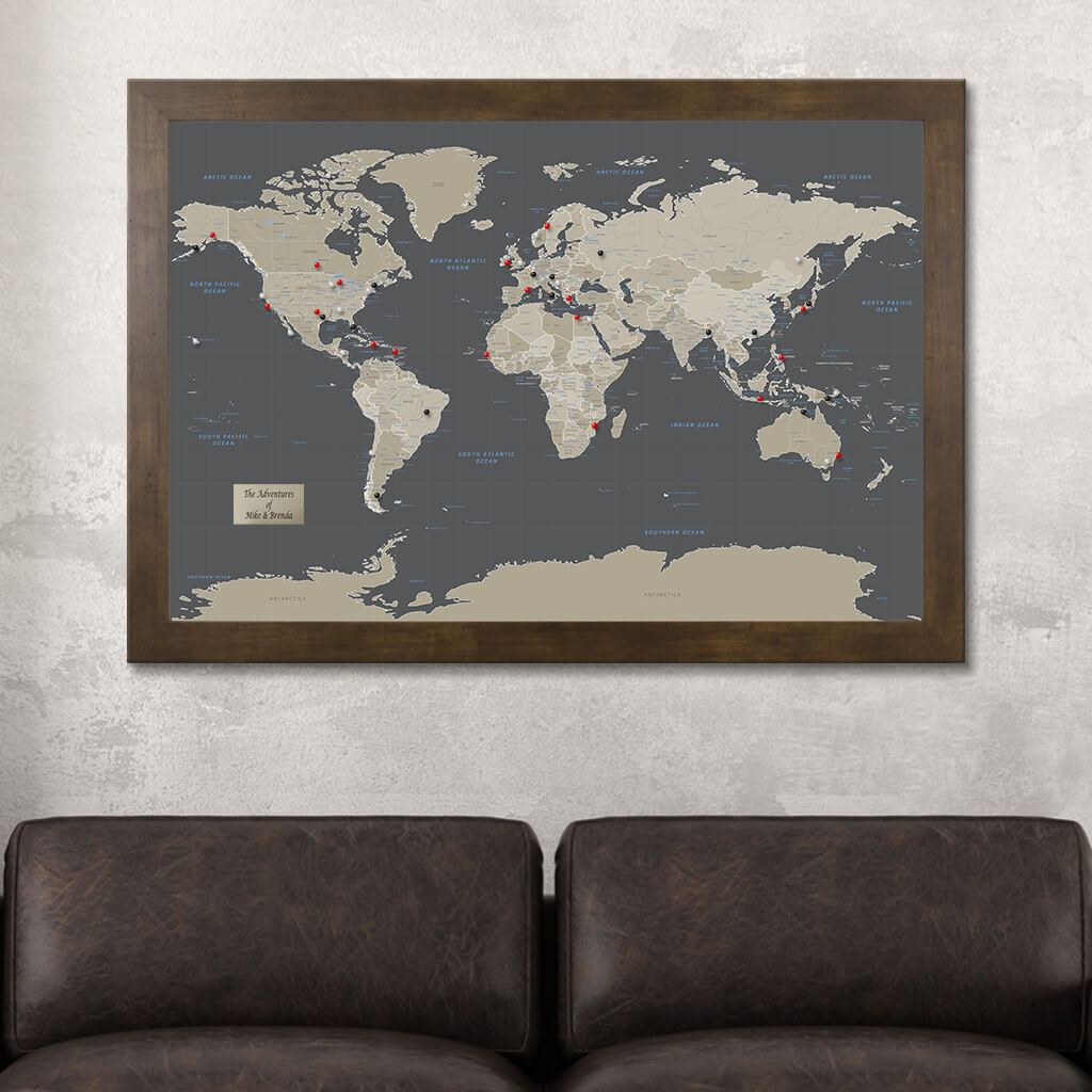 Earth Toned World Travel Map - Framed Map with Pins