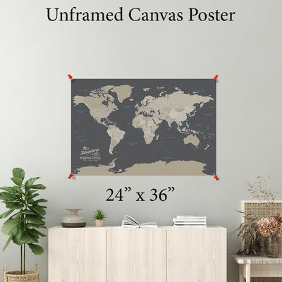 Earth Toned World Canvas Poster 24 x 36