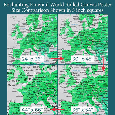 Font Size Comparison of Europe on 4 Poster Sizes