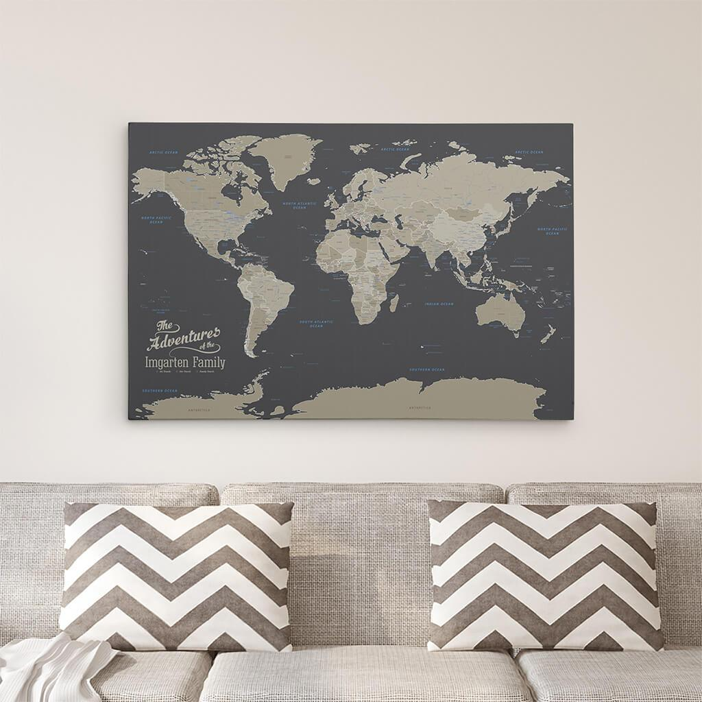 24x36 Gallery Wrapped Earth Tone Push Pin Travel Map