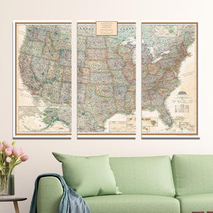 Executive USA 3 Panel Gallery Wrapped Canvas Map