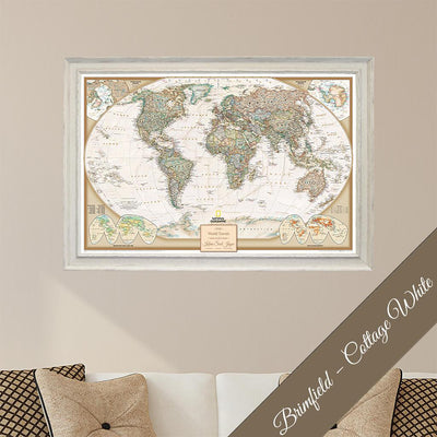 Canvas - Executive World Travel Map with Pins