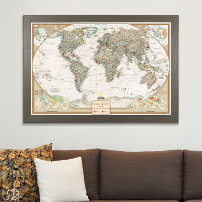 Executive World Map on Canvas in Barnwood Gray Frame