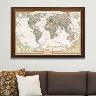 Executive World Map on Canvas in Brown Frame