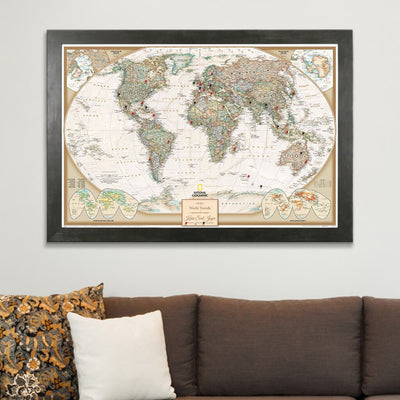 Executive World Map on Canvas in Rustic Black Frame