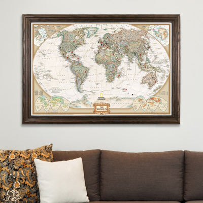 Executive World Map on Canvas in Solid Wood Brown Frame