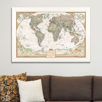 Executive World Map on Canvas in Textured White Frame