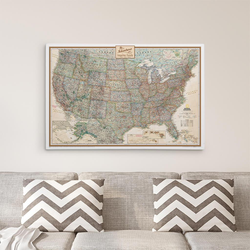 24x36 Gallery Wrapped Executive USA Push Pin Travel Map