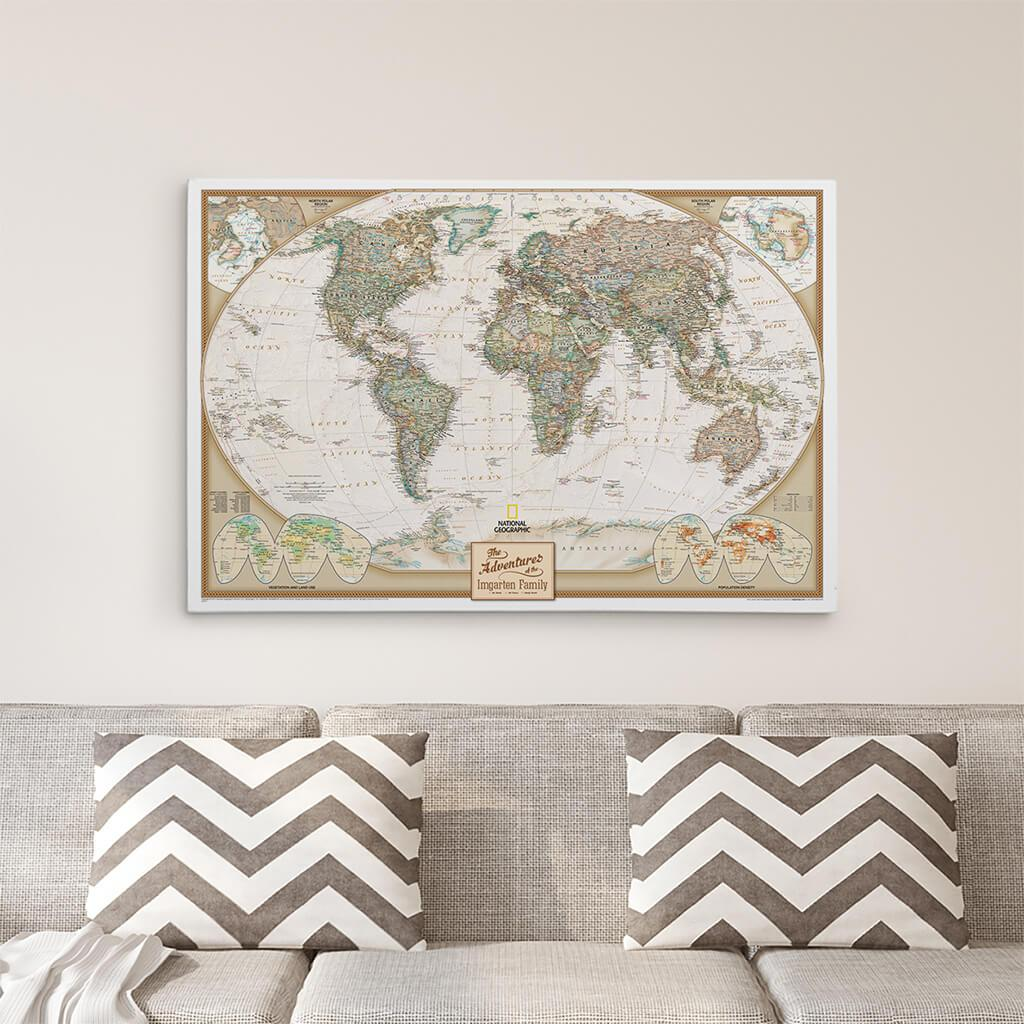 24x36 Gallery Wrapped Executive World Push Pin Travel Map
