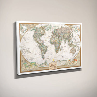 Gallery Wrapped - Executive World Travel Map with pins