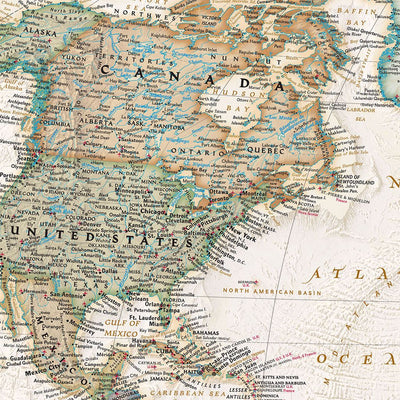 Executive World Map Close up of USA