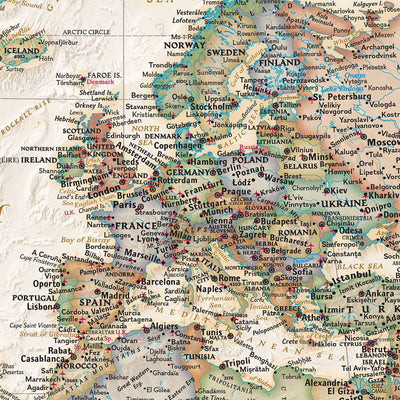 Executive World Map Close up of Europe