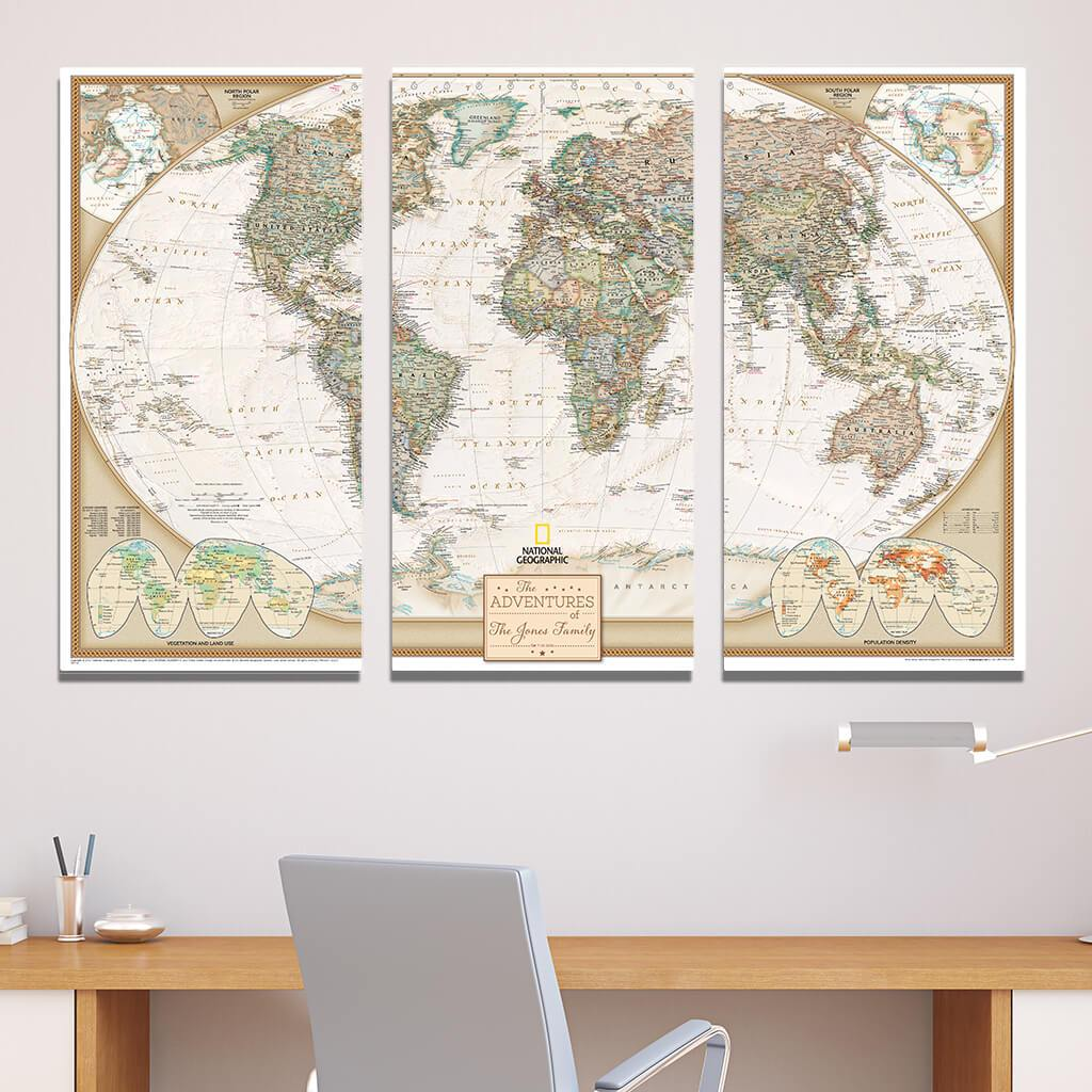 Large 3 Panel Gallery Wrapped Executive World Travel Map with Pins