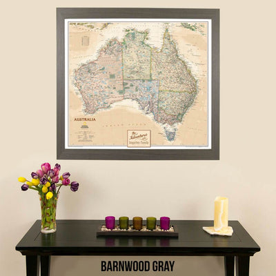 Canvas Executive Australia National Geographic Wall Map for pinning in barnwood gray frame