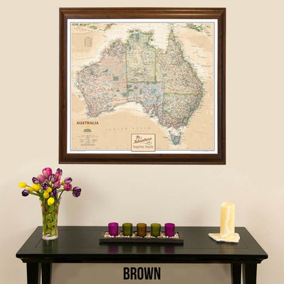 Canvas Nat Geo Executive Australia Push Pin Travelers Map with map pins in Brown Frame