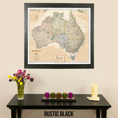 Canvas Executive Australia Push Pin Travel Map with push pins in rustic black frame