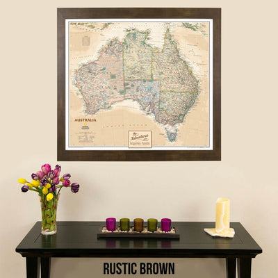 Canvas Executive Australia pinnable wall map in rustic brown frame