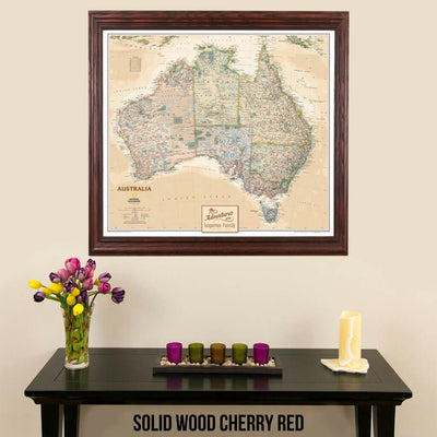 Canvas Executive Australia Push Pin Travel Map in solid wood cherry frame