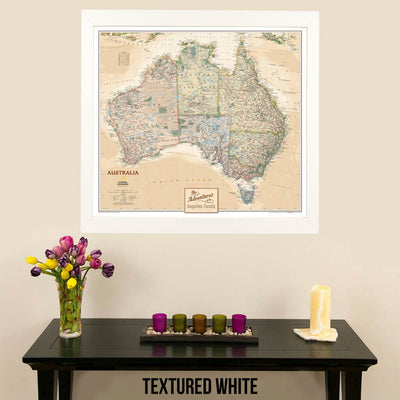 Canvas Executive Australia Push Pin Travel Map with pin tacks in modern textured white frame