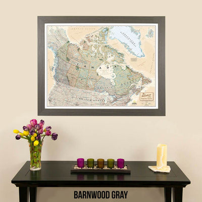 Canvas Executive Canada National Geographic Push Pin Travelers Map with pin tacks barnwood gray frame