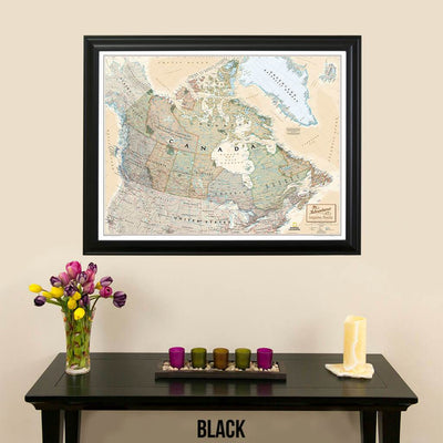 Canvas Executive Canada Push Pin Travel Map with pins black frame