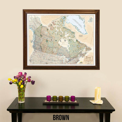 Canvas Nat Geo Executive Canada Push Pin Travel Map brown frame