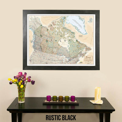 Canvas Executive Canada Push Pin Travel Map pin board rustic black frame