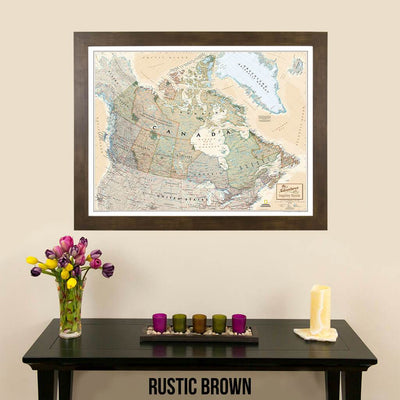 Canvas Executive Canada Push Pin Travel Map modern rustic brown frame