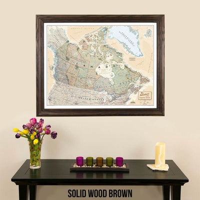 Canvas Executive Canada pinnable wall map in solid wood brown frame