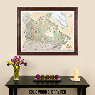 Canvas Executive Canada Push Pin Travel Map with map markers in solid wood cherry frame
