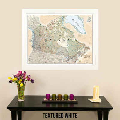 Canvas Executive Canada Push Pin Travel Map for pinning in textured white frame