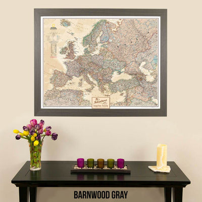 Canvas Executive Europe National Geographic wall map barnwood gray frame