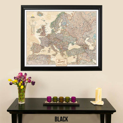 Canvas Executive Europe Push Pin Travel Map black frame