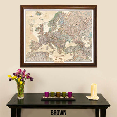 Canvas Executive Europe pin board travel map with pins in brown frame