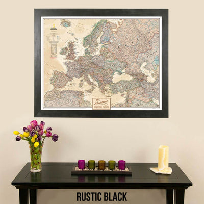 Canvas Nat Geo Executive Europe pinnable travel map with map pins rustic black frame