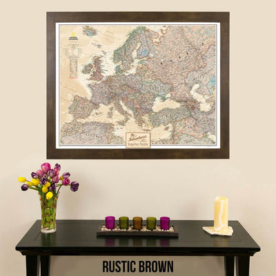 Canvas Executive Europe Push Pin Travel Map rustic brown frame