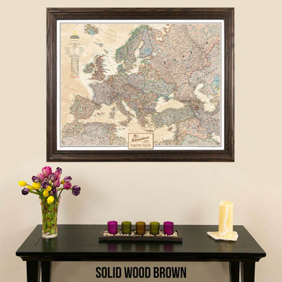 Canvas Executive Europe Push Pin Travelers Map with map tacks solid wood brown frame