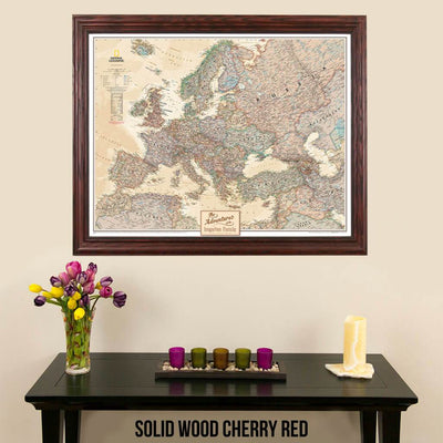 Canvas Executive Europe Push Pin Travel Wall Map solid wood cherry frame