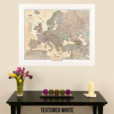 Canvas Executive Europe Push Pin Travel Map textured white frame