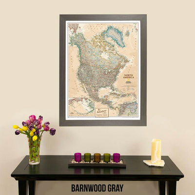 Canvas Executive North America Push Pin Travel Map Barnwood Gray Frame