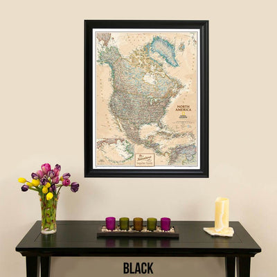 Canvas Executive North America Push Pin Travel Map Black Frame
